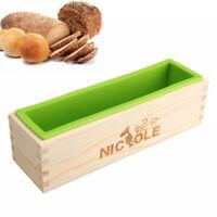 Rectangle Silicone Soap Mold Wooden Box DIY Tools Toast Loaf Baking Cake  AU