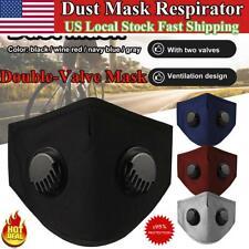 Reusable Washable Face Mask Double Valve Cotton Activated Carbon w/ PM2.5 Filter