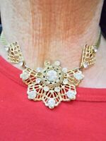 Authentic Vintage 1950's Gold Tone For Small Neck Filigree Rhinestone Necklace