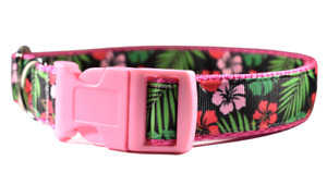 Adjustable Tropical Florals On Pink Dog Collar for Girl dogs Medium Large
