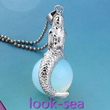 Beauty Mermaid Opalite Gemstone Wrap Ball Bead Chakra Pendant For Necklace DIY