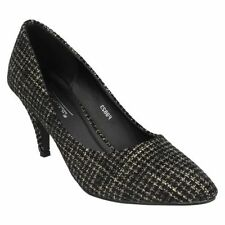 Anne Michelle Court Slim Textile Heels for Women