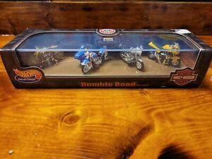 Hot Wheels Rumble Road Motorcycle Set Of 4 (S3) With Acrylic Display Case #25943