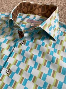 COTON DOUX FUNKY 60'S PATTERN RETRO STYLED DOUBLE CUFF SHIRT 15.5 15 1/2