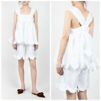 NEW CECILIE BAHNSEN Pauline Top Ruffled Strap Flare Blouse White Size US 8 $1250