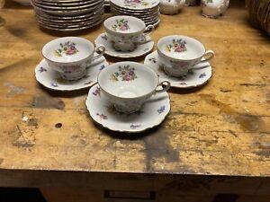 mitterteich bavaria meissen floral Tea Cups, Set Of 4