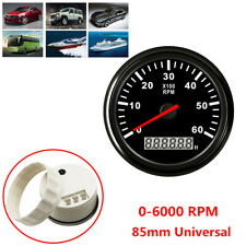 0-6000 RPM 85mm Car Marine Tachometer Boat Gauge Digital Hourmeter Waterproof 1x