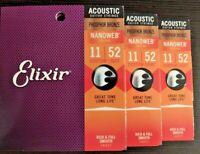 3 SETS Elixir Phosphor Bronze NanoWeb Acoustic Guitar Strings 11-52 Custom Light