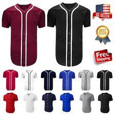 Men's Baseball Jersey Raglan PlainT-Shirt Team Sport Button Fashion Tee Casual T