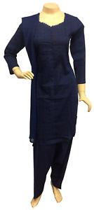 Pakistani Indian Blue Cotton Suit, Chikan Embroidered Salwar Kameez Shalwar