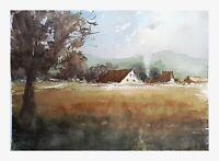 Original Aquarell Gemälde Malerei impressionistisch Häuser Dorf Atmosphäre
