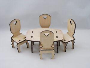 Dollhouse Furniture Unfinished Dining Set