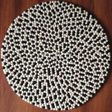 Felt Ball Rug - 90cm Nepalese Handmade Black White & Sand Felt Wool Round Rug