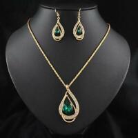 Moda Crystal Mujeres Cadena Jewelry Sets Pendiente Chapado en oro de 18K Collar
