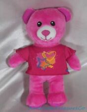 "Build A Bear Spin Master Mini Plush 8"" Rose Pink Bear w/Stars T-Shirt Sewn Eyes"