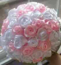 WEDDING BOUQUET FAKE ROSE RIBBON  FLOWERS WITH CRYSTAL DIAMOND