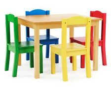 Wooden Pine 5 Piece Kids Table and Chair Set Multi Colour Draw Art Study Desk