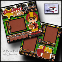 FOOTBALL 2 premade scrapbook pages paper printed for album layout sports CHERRY