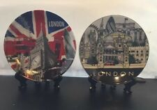 2 X London Ceramic Showpiece Decoration Plates With Stand Souvenir Gift