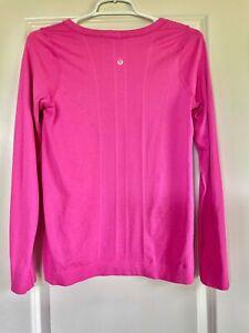 Lululemon Sz 10 Swiftly Tech Long Sleeve Crew Neck Shirt Bright Paris Pink! EUC!