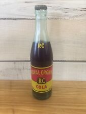 Vintage Full Royal Crown RC Cola 10oz Soda Pop Glass Bottle
