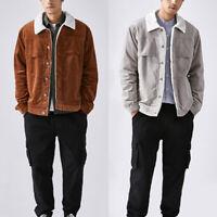 Men Winter Warm Corduroy Sherpa Lined Jacket Vintage Trucker Top Coat Slim Retro