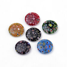 10 pcs Flat Round Handmade Millefiori Lampwork Beads Jewelry Making 25~25.5x6mm