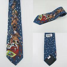 Men's Christmas Neck Tie - Santa On Sleigh & Reindeer's - Fun Office Party (New)