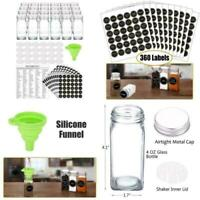24 Glass Spice Jars With 360 Spice Jar Labels And Funnel Complete Set By SWOMMOL