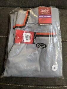 2XL Rawlings softball/baseball pants, gray w/orange & black braiding