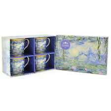 Set of 4 Claude Monet Water Lily Pond Fine Bone China Tea Coffee Drinking Mugs