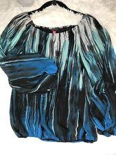 VINCE CAMOTO Womens Black Blue Aqua White Print Lined Long Sleeve Peasant Top XS