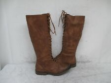 Mossimo Distressed Brown Zip Lace Knee High Boots Size 7