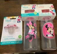 Disney Baby Bottles Minnie Mouse 9oz BPA Free Set of 2 + Free Pacifier