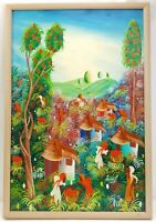 Vintage Original Haitian Canvas Oil Painting Village Harvest Scene Signed Joseph