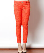 Womens orange red leopard print jeans M Medium NWT 6 8 skinny denim pants ankle