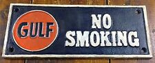 GULF GASOLINE OIL GAS STATION NO SMOKING CAST IRON METAL ADVERTISING PLAQUE SIGN