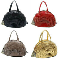 STATEMENT CUTE FAUX LEATHER RETRO 3D HEDGEHOG ANIMAL SPIKE TEXTURED HANDBAG
