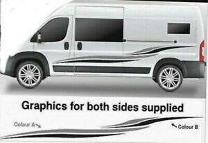 New 2 side  Peugeot boxer campervan graphics Sides Stickers choice any 2 color