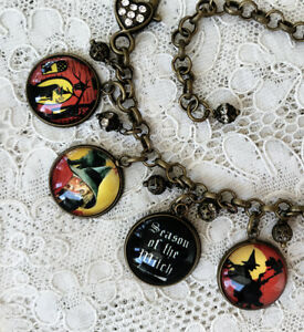 WITCHES Picture GLASS DOME CHARM BRACELET Vintage HALLOWEEN POSTCARD IMAGES