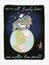 "Disney Dumbo Plush Throw Blanket We're All Family Timothy Mouse 40"" x 60"" NWT"