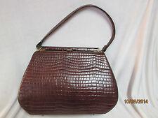Vintage Ladies 1950's Retro Brown Faux Lizard Handbag Purse Day or Evening Bag