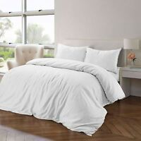 Luxury Soft 100% Pure Natural Cotton Linen White Quilt Duvet Cover Bedding Set