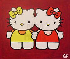 """Gemelli Siamesi KITTY"" HELLO KITTY ACRILICO PITTURA TELA 60 CM x 50 CM x 1.5 cm"