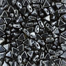 Czech Kheops Par Puca 2 Hole Triangle Beads Jet Hematite 6mm 9g Tube (K103/5)