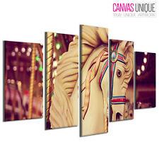 5PA726 Horse Funfair Carousel  Animal Multi Frame Canvas Wall Art Print