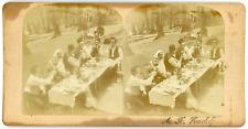 Stereo, Russie ? Arménie ? Hommes attablés pour un repas champêtre, circa 1880 V