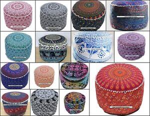 Pouffe Cotton Fabric Ottoman Cover Mandala Design Handmade Pouf Indian Ethnic
