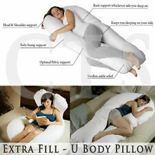 Extra Fill 5ft Comfort U Pillow Body Back Support Nursing Maternity Pregnancy