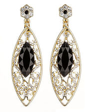 CLIP ON EARRINGS - gold drop earring with black stones & clear crystals - Candy